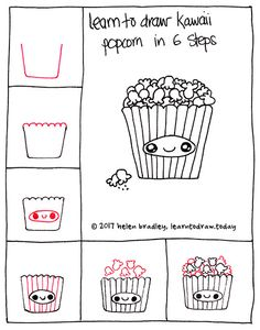How to draw kawaii popcorn in 6 simple steps