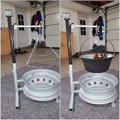 Fire pit made out of old car tire rims with interchangeable snap on grill or pot holder If you anticipate using smokeless fuel instead of wood (or a mix of the two) then you are going to require a multi fuel stove. So, wood sounded like a superior option