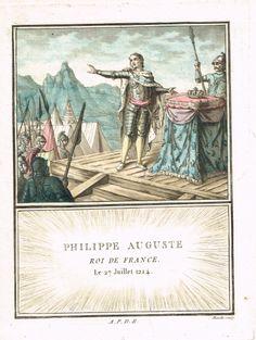 Philippe II surnommé Auguste - Roi de France - à la Bataille de Bouvines le 27 juillet 1214 - aquatinte par Mixelle - MAS Estampes Anciennes - Antique Prints since 1898