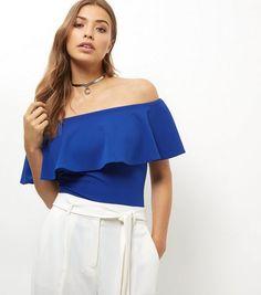 Blue Vanilla Blue Frill Bardot Neck Bodysuit    New Look
