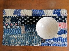 Handstitched mat // Akiko Ike IMG_0245bl It's called chiku-chiku, love it