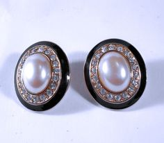 Vintage MONET Faux Pearl and Clear Rhinestone by CrowsNestJewels