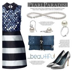 """""""Beautiful blue by Pearl Paradise"""" by pearlparadise ❤ liked on Polyvore featuring Mary Katrantzou, Sergio Rossi, Dsquared2, Anja, women's clothing, women, female, woman, misses and juniors"""