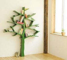 Who says bookshelves have to be straight across! Spruce up a child's room with this creative book tree.