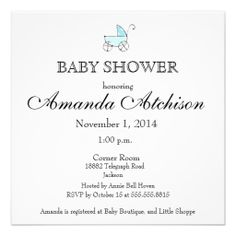 Blue Baby Carriage Baby Shower Personalized Invite