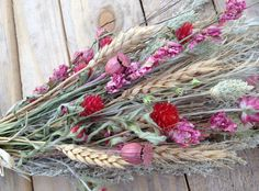 Dried Flower Wheat and Herb Bouquet in Pinks by FamilyDriedFlowers, $18.95