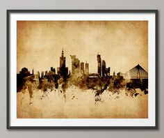 Warsaw Skyline, Warsaw Poland Cityscape Art Print (2389) by artPause on Etsy