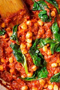 Spanish chickpea and spinach stew close up