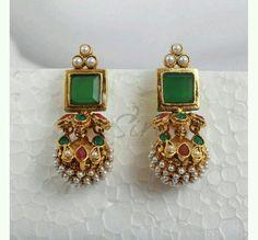 Antique Jewelry Designer earrings in green stud and pearl Gold Jhumka Earrings, Jewelry Design Earrings, Gold Earrings Designs, Designer Earrings, Designer Jewelry, Amrapali Jewellery, Pearl Earrings, Drop Earrings, Indian Jewellery Design