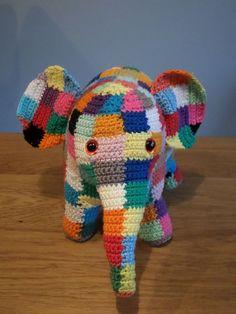 The expressive Elmer Elephant. Crochet Baby Toys, Crochet Toys Patterns, Cute Crochet, Amigurumi Patterns, Crochet Animals, Baby Blanket Crochet, Crochet For Kids, Beautiful Crochet, Crochet Yarn