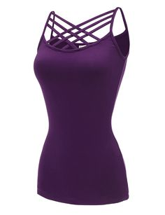 b3a0269b67969 Regna X  RE-Order  No Bother Womens Basic Round Neck Strappy Criss Cross  Tank Tops (S-3X