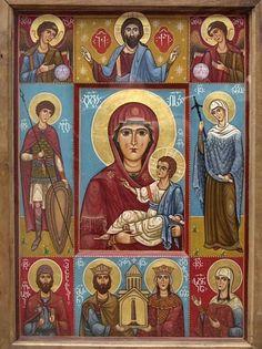 Icono, La Virgen y el Niño con Santos.