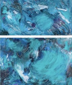 """I'm Okay, You're Okay is a diptych of two canvases. The upper canvas is 36""""w x 18""""h and the lower canvas is 36""""w x 24""""h. Each depicts a different ominous storm which may have similar content but they never touch one another. As each person faces personal storms, they cannot fully know the struggles of one another, but we can relate and move toward understanding through similar situations."""