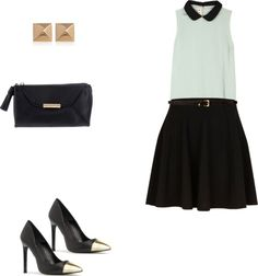 skater skirt with a seafoam sleeveless top, gold stud earrings, black clutch and black cap toe heels...