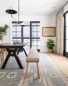 Black, white and patterned dining room