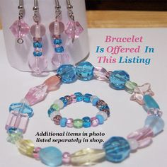 Glass Bead Bracelet in Pastel Pink Blue by CreativeXpression1
