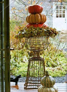 Home Porch Decor: wire urn, stacked pumpkins | Good for Autumn, Halloween & Thanksgiving