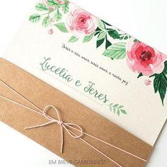 Convite Rústico Floral Aquarelado, convite com papel kraft, convite rosa, convite rústico