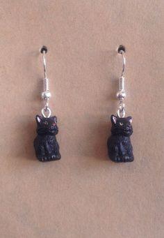 Hand Painted Black Cat Bead Earrings by tribeofthefaefolk on Etsy