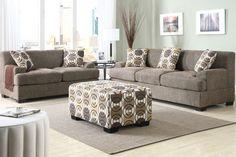 Modern Slate Linen Sofa Couch Loveseat Pillows Living Room Set Poundex