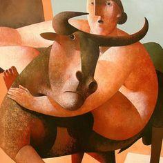 Peter Harskamp-( in The Hague, Holland. Painter/Sculptor Peter Harskamp recreates mankind into monumental beings. Taurus Art, Tarot, Art Visage, Funky Art, Z Arts, Painting People, Paintings I Love, Whimsical Art, New Art