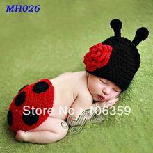 Mão Crochet joaninha Set fotografia bebê recém-nascido Props joaninha Hat and Cover Set infantil animais Beanie Hats MH026(China (Mainland))