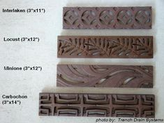Currently, five styles of cast iron grates work with NDS& Mini Channel system: the Acanthus, Interlaken, Carbochon, Locust and the Minnione. Small Yard Landscaping, Hillside Landscaping, Drainage Grates, Trench Drain Systems, Driveway Apron, Brick Border, Drainage Channel, Desert Backyard, Patio Flooring