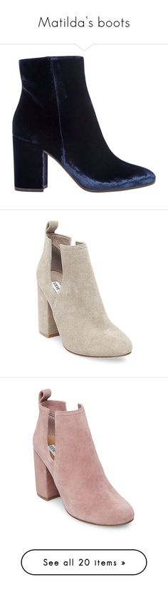 """""""Matilda's boots"""" by skh-siera18 ❤ liked on Polyvore featuring shoes, boots, ankle booties, kirna zabete, kz's most wanted, kzloves /, thick heel boots, chunky heel ankle booties, velvet ankle boots and gianvito rossi booties"""