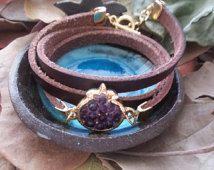 Purple Pomegranate Bracelet, Gold Bracelet, Long-Looped Bracelet, Brown Leather Strip, Resin Jewelry