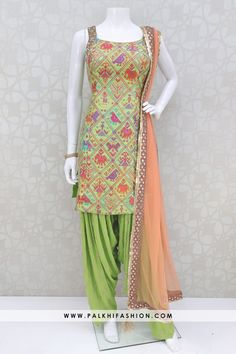 Gorgeous Green Pure Silk Patiala Suit With Ikat Designs - Design interests Salwar Suit Neck Designs, Neck Designs For Suits, Kurta Designs Women, Dress Indian Style, Indian Dresses, Indian Outfits, Pakistani Dresses, Indian Wear, Salwar Kameez
