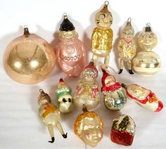 12 vintage blown glass christmas ornaments on