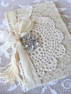 Vintage Lace Doily Wedding Journal Wedding Memory by ShabbySoul Vintage Crafts, Shabby Vintage, Vintage Lace, Shabby Chic, Doilies Crafts, Lace Doilies, Collage Book, Book Art, Fabric Journals
