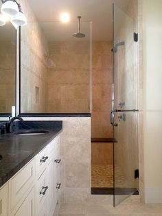 inline shower enclosure with half wall panel and towel bar/handle combo Half Wall Shower, Bathroom Shower Doors, Master Bath Shower, Glass Shower Doors, Glass Bathroom, Small Bathroom, Shower Towel, Master Bathroom, Steam Shower Enclosure