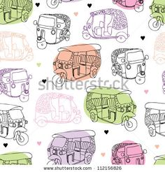 Seamless india travel auto rickshaw illustration background pattern in vector by Maaike Boot, via ShutterStock