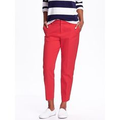 Old Navy Mid Rise Harper Trousers ($12) ❤ liked on Polyvore featuring pants, in the red, petite, red stretch pants, zipper pants, old navy, tall pants and stretch twill pants