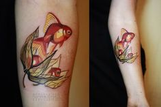 Goldfish Tattoo By Sasha Unisex http://www.noregretsstudios.co.uk/watercolour-like-tattoos-by-sasha-unisex/