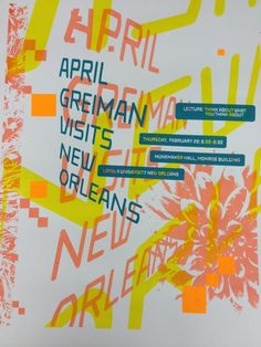 April Greiman's lecture poster, New Orleans, Louisiana
