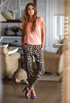 Relaxed leopard print pants, perfect for adding some attitude to a relaxed look.
