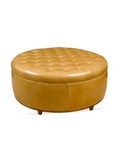 Luxe Leather Seating - Yellow Ottoman
