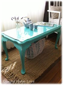 Coastal Home Love: 50 Shades of Turquoise ~ A Coffee Table Makeover