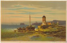 Vintage Seashore Lithographic Print by Colestin Brugner, Beautiful