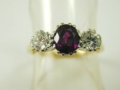 Ruby & diamond ring Dia .80 cts  Ruby 1.54 cts Trilogy large Natural Ring size Q