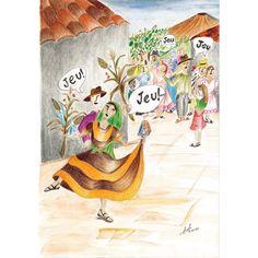 """Ilustración que realicé sobre el baile folclórico """"jeu jeu"""" que se desarrolla en El Salvador"""