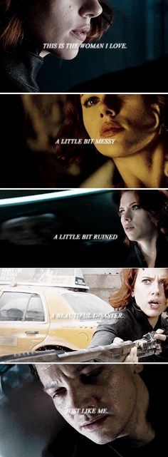 This is the woman I love. A little bit messy, a little bit ruined, a beautiful disaster. Just like me. #marvel