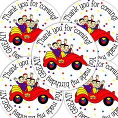 20  2 Inch round Wiggles Birthday sticker labels party by bafoodle, $6.00