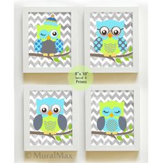 Baby Room Decor  Owl Decor    Nursery art  Set of 4  by MuralMAX, $48.00