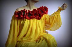 Yellow silk felted dress, summer dress, poppy dress, women's clothing, art to wear, dress for women Poppy Dress, Felt Purse, Beautiful Handbags, Nuno Felting, Black Felt, Red Poppies, Dress Summer, Felt Flowers, Dress Making
