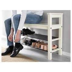 """IKEA - HEMNES Bench with shoe storage Bench with shoe storage. Size: 33 """" Have a seat while putting on your shoes. The simple, classical design with a touch of tradition looks great with other furniture in the HEMNES series. Shoe Storage White, Front Door Shoe Storage, Bench With Shoe Storage, Shoe Rack Bench, Diy Shoe Storage, Storage Benches, Ikea Storage, Shoe Rack By Front Door, Diy Shoe Shelf"""