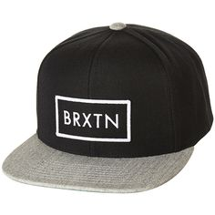 BRIXTON RIFT SNAPBACK CAP BLACK HEATHER GREY ($50) ❤ liked on Polyvore featuring accessories, hats, snap back cap, cap snapback, brixton cap, snap back hats and snapback cap