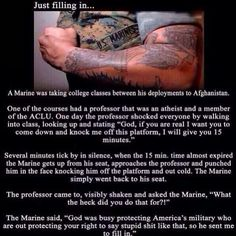 This marine is awesome! Semper Fi  I'm not really religious, but damn. Go Marine